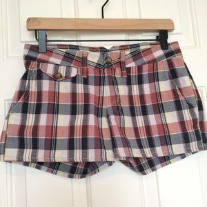 Lucky Brand Red Navy Plaid Mid-Rise Shorts